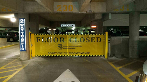 RAMP-BLOCKER Retractable Parking Deck Barrier-Closed